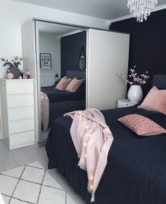 SO INCREDIBLY BEAUTIFUL! - THE WHITE WALLS, ARE AN AWESOME CONTRAST, TO THE BLACK BEDDING WITH GLORIOUS POPS OF PINK, IN THE CUSHIONS & THROW! - LOOKS DIVINE! ⚜