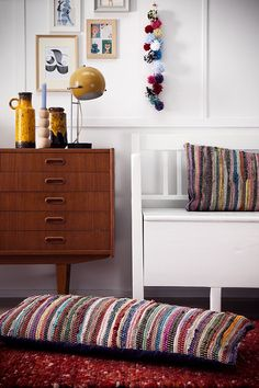 Mid century furniture and I love the pillows made out of rugs! Decor, Furniture, Home Goods, Home, Home Center, House Interior, Home Deco, Living Room Inspiration, Retro Home