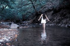 forest, girl, nature, river