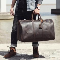 Genuine Leather Weekender Travel Duffel Luggage Bag 24 inch