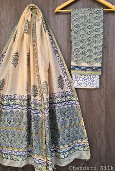 Price Rs 1600 + Shipping extra Hand block Printed chanderi silk dress materials Top and dupattas chanderi silk (2.50×2 mtrs) Bottom cotton (2.50 meters) Chanderi Silk Saree, Silk Sarees, Silk Suit, Suits, Blouse, Dresses, Vestidos, Suit, Blouses