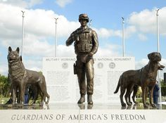 """SAN ANTONIO — The United States' first national monument to a soldier's best friend, recognizing the sacrifices of dogs in combat, was dedicated by the U.S. military on Monday.Inscribed with the words """"Guardians of America's Freedom,"""" the nine-foot tall bronze statue at Lackland Air Force Base in San Antonio, Texas, features four dogs and a handler."""