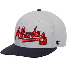 1876eea0ce1 Atlanta Braves  47 Script 2-Tone Captain Adjustable Snapback Hat - Gray Navy