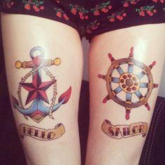 my new tattoos done yesterday, they hurt as fuck (still today), but I love them! <3 #oldschooltattoo #anchortattoo #helmtattoo #ruddertattoo #nauticalstartattoo #nauticaltattoo #sailortattoo #anchor #helm #rudder #nauticalstar #hellosailor