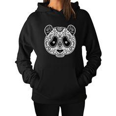 TeeStars Women's - Aztec Panda Head Hoodie Large Black Te…
