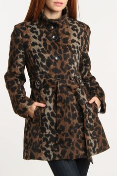 Animal Print Belted Coat