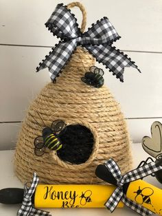 Bee Skep large-Bee Hive-Bee Decoration-Large Bee Hive Bee skep adorned with a bow of your choice and Bee Skep, Bee Hives, Bee Creative, Dollar Tree Crafts, Bees Knees, Spring Crafts, Sisal, Bee Happy, Diy And Crafts