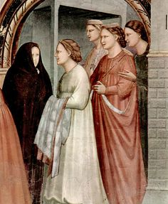 """Meeting At The Golden Gate"" (Detail)  --  1304-06  --  Giotto di Bondone  --  Italian  --  Fresco  --  Capella degli Scrovegni Arena  --  Padua, Italy (belt worn high)"