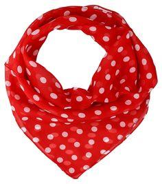 - Bandana    - Rot mit weißen Punkten    - 100% Polyester    Größe:   53 x 51 cm