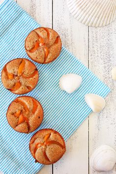 Soft, almondy, financiers topped with thin slices of apricot.     Apricot Financiers from Confessions of a Bright-Eyed Baker