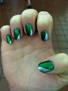 Green and Silver (Slytherin) Nails
