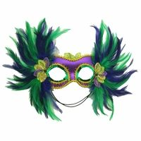 Mardi Gras Satin and Feather Mask