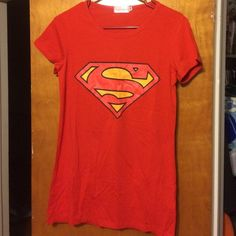 Women's Superman Tshirt🍀🤑☘️ Red Superman logo Tshirt , says XL more like a medium. New never worn. On the logo some of the red ran into the yellow. I received it this way.   🤑great to bundle🤑 Tops