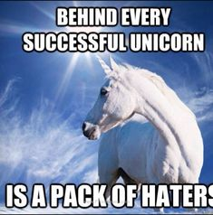 The Last Unicorn.♡♡♡ Behind every successful unicorn is a pack of haters! (I might be mixed in with the haters maybe) Funny Unicorn Memes, Unicorn Farts, I Am A Unicorn, Majestic Unicorn, Last Unicorn, Magical Unicorn, Rainbow Unicorn, Unicorn Dust, Unicorn Pictures