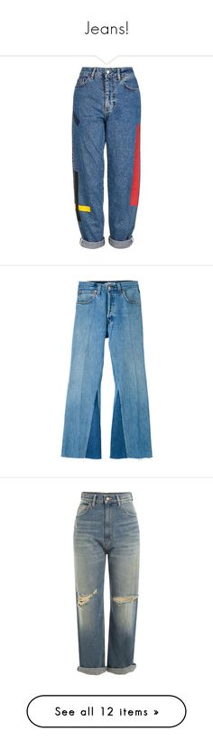 """Jeans!"" by yadiranies ❤ liked on Polyvore featuring jeans, pants, bottoms, blue jeans, blue, high waisted cropped jeans, high rise cropped jeans, high waisted destroyed jeans, wide-leg jeans and destroyed jeans"