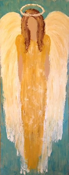 Guardian Angel - This is an original palette knife acrylic painting of an angel in her sparkling glory. Add this beautiful painting to your Christmas decor, or display her all year long as a reminder of angelic protection. Created in my home studio on an 16x40 gallery-wrapped