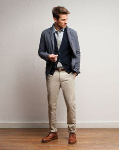 chino pour homme look gilet chaussure marron veste