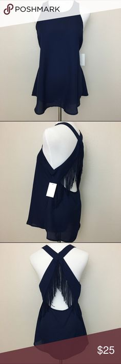 """NWT Socialite Top, Sexy Back, Cross Back Strap, M New with tag Socialite sleeveless open back top. Simple and unassuming front layout, then gives you that extra edge in the back with its cross strap and sexy open layout.  Color is navy blue.  Fabric is 100% polyester. Machine washable.  Size Medium Armpit to armpit 18"""" Length 27"""" Approximate only.  Stored in a smoke and pet free household.  Please see pictures for details or asks any questions before buying to avoid return! Socialite Tops"""