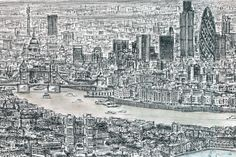 Stephen Wiltshire is an artist who draws detailed cityscapes, skylines and street scenes. Buy the original drawing of London Panorama Stephen Wiltshire, Autistic Artist, Popular Art, Black And White Drawing, Amazing Drawings, Gcse Art, Sculpture, Line Drawing, Illustration Art