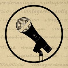 Printable Graphic Microphone Illustration Digital Microphone Icon Music Image Download Antique Clip Art Jpg Png Vector Print 300dpi No.2055 @ vintageretroantique.com #DigitalArt #Printable #Art #VintageRetroAntique #Digital #Clipart #Download