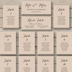 Wedding Seating Chart Template Printable by HopeStreetPrintables