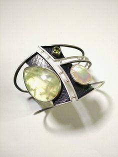 "Tammy B. Jewelry   ""Fool's Paradise"" cuff. Sterling, prehnite, pearl, peridot tammybjewelry.com"