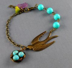 Antique Bronze Sparrow Robin  Vintage Aqua bead by ManoCelebrates, $21.00 i love this soooooooooo much!!!