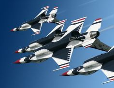 Air Force Thunderbirds practice aerial maneuvers above Nellis Air Force Base, Nev. The Air Force's premier flying team will headline SkyFest 2014 May 31 and June 1 . Military Helicopter, Military Aircraft, Air Fighter, Fighter Jets, Air Force Aircraft, Jet Plane, Us Air Force, Air Show, War Machine