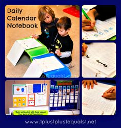 Daily Calendar Notebook from 1+1+1=1. This is a little too high for my Pre-K but is very well organized and is good for independent morning work.