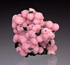 Rhodochrosite with Pyrolusite; Santa Eulalia District, Chihuahua, Mexico