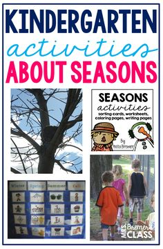 Four Seasons learning activities for Kindergarten and First Grade Seasons Activities, Earth Day Activities, Science Activities, Writing Activities, Spring Activities, Sorting Kindergarten, Kindergarten Activities, Classroom Activities, Preschool