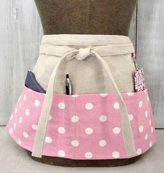 Pink Polka Dot  Womens Half Apron  Waitress by greenwillowpond