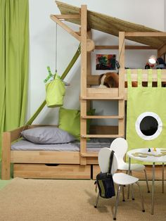 Such a fun bunk bed / indoor play structure. Playhouse Kits, Indoor Playhouse, Build A Playhouse, Wooden Playhouse, Play Beds, Kid Beds, Childrens Beds, House Beds, Kid Spaces