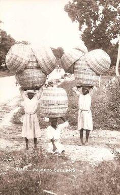vintage postcard haitian basket sellers.