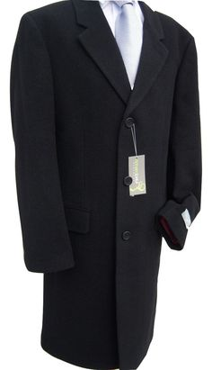 """Mens Black Wool and Cashmere Warm Winter Overcoat Over Coat for Formal Suit Suits 36 38 40 42 44 46 48 50 52 54 (36"""" Chest)"""