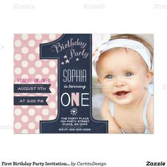 "First Birthday Party Invitation Girl Chalkboard 5"" X 7"" Invitation Card"