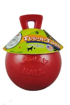 Tug-n-Toss Jolly Ball. This is a great tough toy for the dogs who like to grab and shake. Some dogs will chew the handle, so there is also a version with a rope.