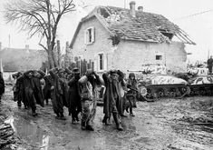 SHERMANS and German POWs Bischwiller Alsace-Lorraine