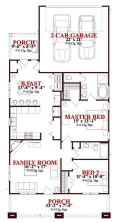 Bungalow Style House Plan - 2 Beds 2 Baths 1302 Sq/Ft Plan #63-273 Main Floor Plan - Houseplans.com