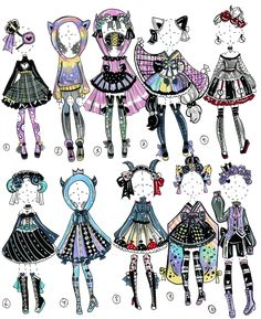 It's been a long time since I did these kind of pre-made outfit adopts. CLOSED -Outfits from Wonderland Character Costumes, Character Outfits, Character Art, Character Design, Drawing Anime Clothes, Dress Drawing, Paper Clothes, Dibujos Cute, Anime Dress