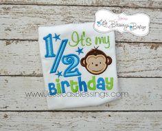 half birthday  onesie  boy birthday  6 month by 5littleblessings, $21.00