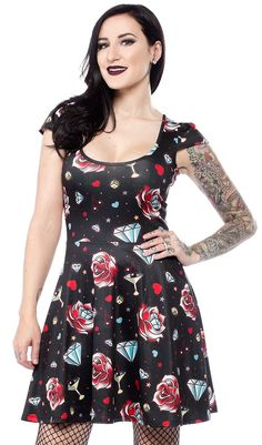 SOURPUSS+DIAMONDS+ARE+FOREVER+SKATER+DRESS++-+Diamonds+are+forever...ever...e+v+e+r...+enjoy+this+little+nod+to+the+spy+genre+with+our+classic+skater+dress!+This+capped-sleeve+dress+features+an+allover+diamond,+martini+(shaken,+not+stirred,+obviously),+cherry+and+dice+print+-+perfect+for+a+night+at+the+casino+or+just+out+on+the+town!