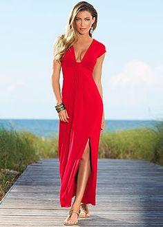 Plunging maxi dress, rope sandal