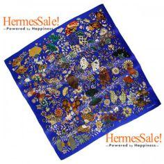 Hermes Fleurs et Papillons de Tissus 140cm Blue Cashmere Shawl
