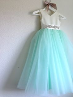 The Tiffany Dress / Tulle Flower Girl Dress / Special occasion dress / Rhinestone Sash / CHOOSE your color {Style No. 106}