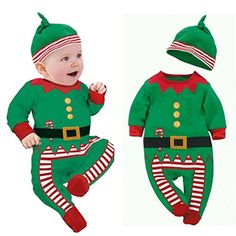 Toraway Infant Baby Boy Girl Christmas Suit Romper Jumpsuit Outfits Clothes  612 Months Green    719fb20277d