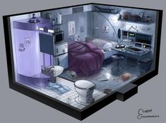 Cozy Cyberpunk Apartments - Future Compact Living - - Post with 3478 views. Spaceship Interior, Futuristic Interior, Futuristic Design, Futuristic Architecture, Games Design, 3d Modelle, Cyberpunk Art, Cyberpunk Aesthetic, Cyberpunk Character