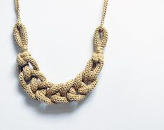 Ecru cotton chain knit statement necklace. #AmandaJaneJones