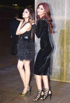 Shamita Shetty with sister Shilpa Shetty at Manish Malhotra's grand birthday bash. #Bollywood #Fashion #Style #Beauty #Hot #Sexy