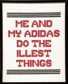 RUN DMC My Adidas Cross Stitch